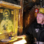 Miners said a prayer before commencing work for their safety